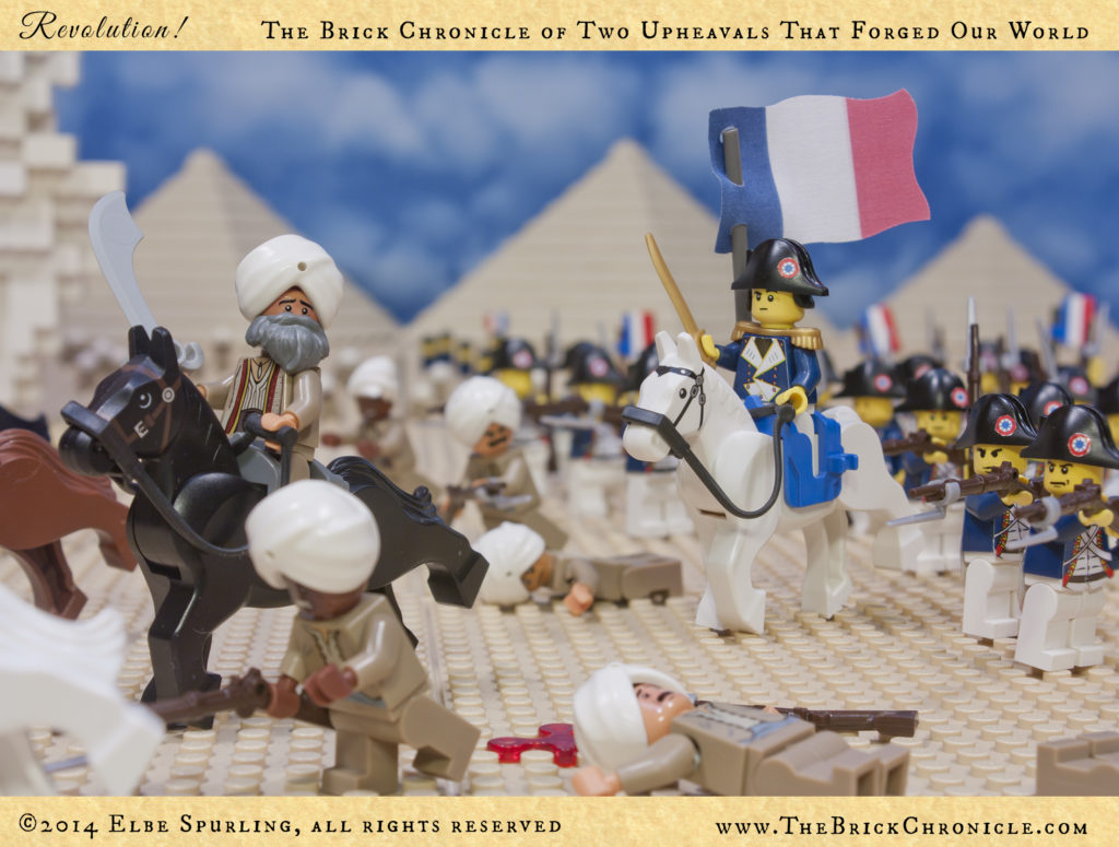 Napoleon followed up his triumph in Paris by leading the French army as it crossed the Alps, and he conquered Lombardy, the Papal States, and Venice. Fresh victories brought optimism and a sense of honor to the long-suffering people of France. Looted treasures from defeated cities filled the treasuries of the government, which at the end of 1795 had composed a new constitution and reorganized itself with a bicameral legislative body and a Directory of five men as its executive branch. Without consulting this Directory, Napoleon took it upon himself to negotiate a peace treaty with Austria. He then lead a French army on an expedition into Egypt to counter British influence, and there he won a decisive victory over of the armies of the Mamluk rulers of Egypt at the Battle of the Pyramids.